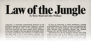 A portion of the title page for 'Law of the Jungle', by Henry Beard and John Weidman.